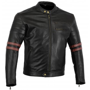 Motorcycle Jacket Black Stone Washed Leather Café Racer Retro jacket Oxblood