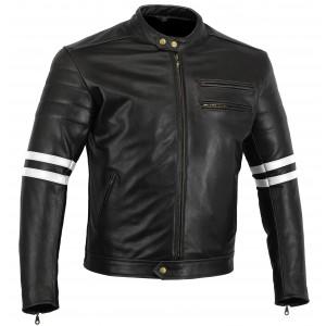 Motorcycle Jacket Black Stone Washed Leather Café Racer Retro jacket White