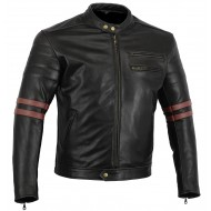 The Rocker Motorcycle Jacket Black CowHide Leather Café Racer Retro jacket Oxblood