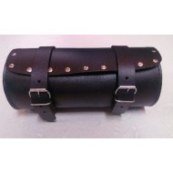 BIKERS PU WATERPROOF LEATHER MOTORCYCLE TOOL ROLL SISSY BAR STUDDED ROUND BAG