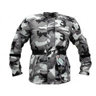Grey Camo Camouflage Waterproof Armoured Mens Motorcycle Jacket